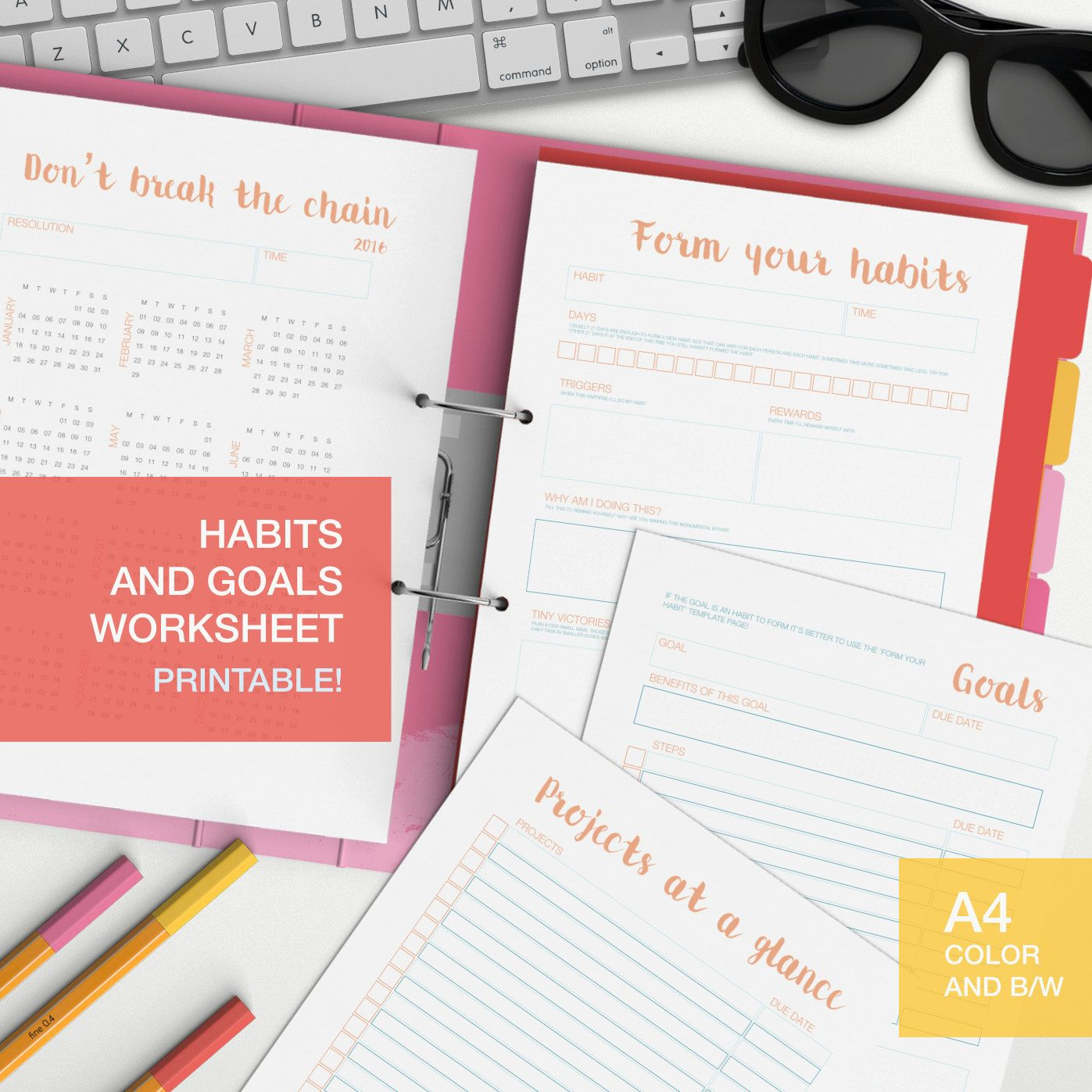 Printable Habits And Goal Worksheets For Your Self Care