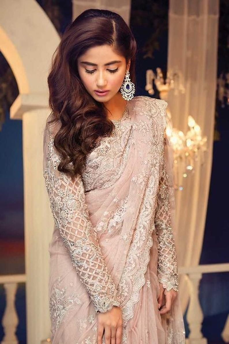 Partywear Bollywood Net Saree for Wedding with Sti