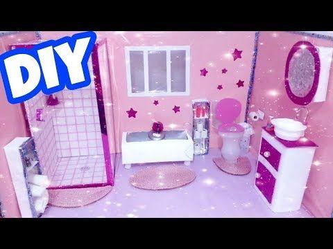como hacer un cuarto de baño para muñecas | how to make a ...