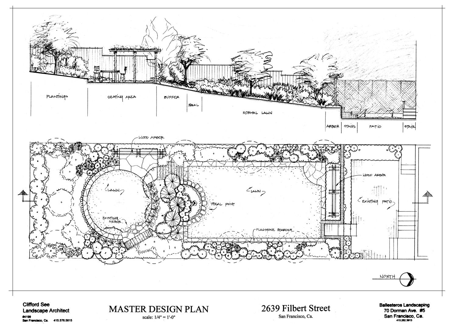 formal terrraced garden design with a rectangular and a circular lawn well connected by a