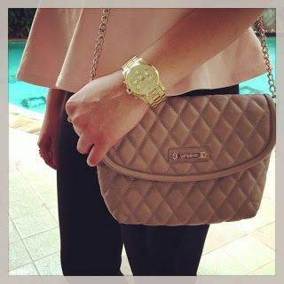 Quilted Bag + Gold watch