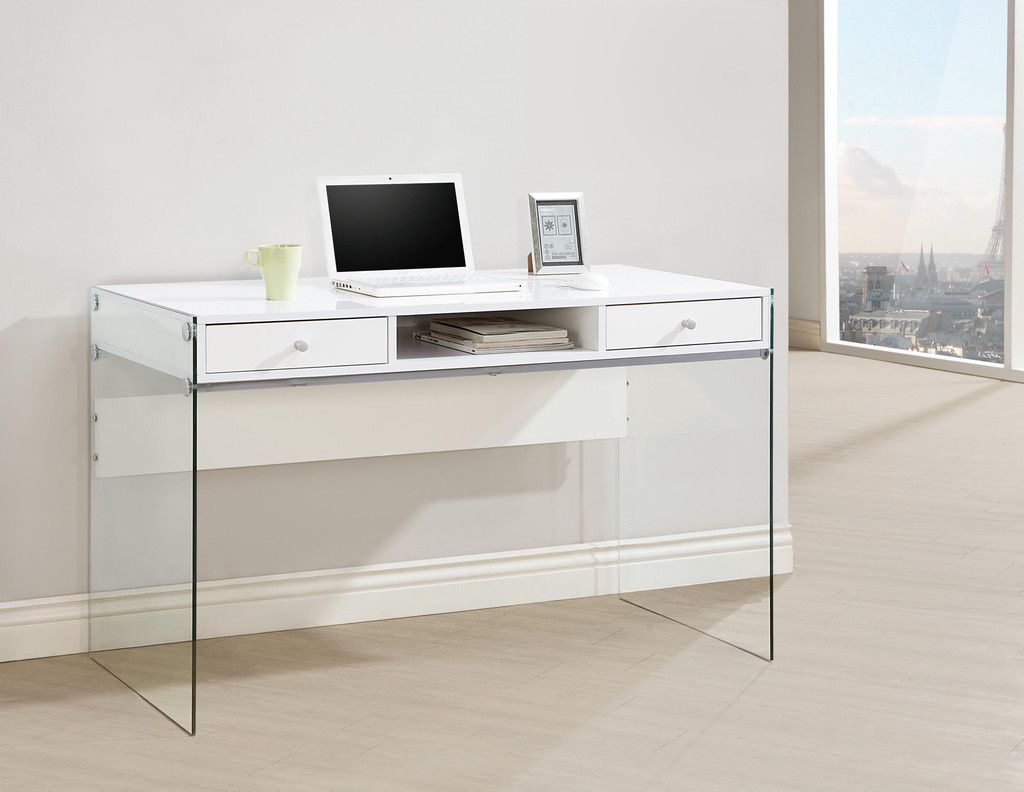 Cc 829 White High Gloss Finish Desk W Glass Side Panels White Computer Desk Writing Desk With Drawers Modern Computer Desk