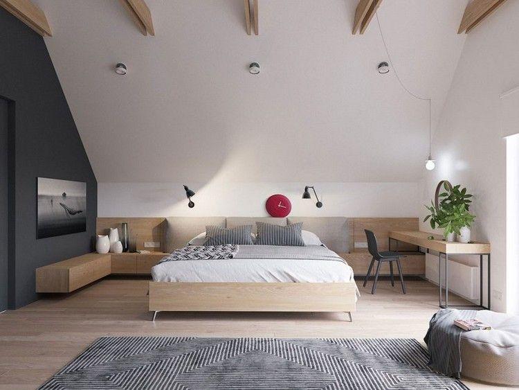 Geräumiges Schlafzimmer mit Dachschräge   Schlafzimmer gestalten, Schlafzimmer dachschräge ...