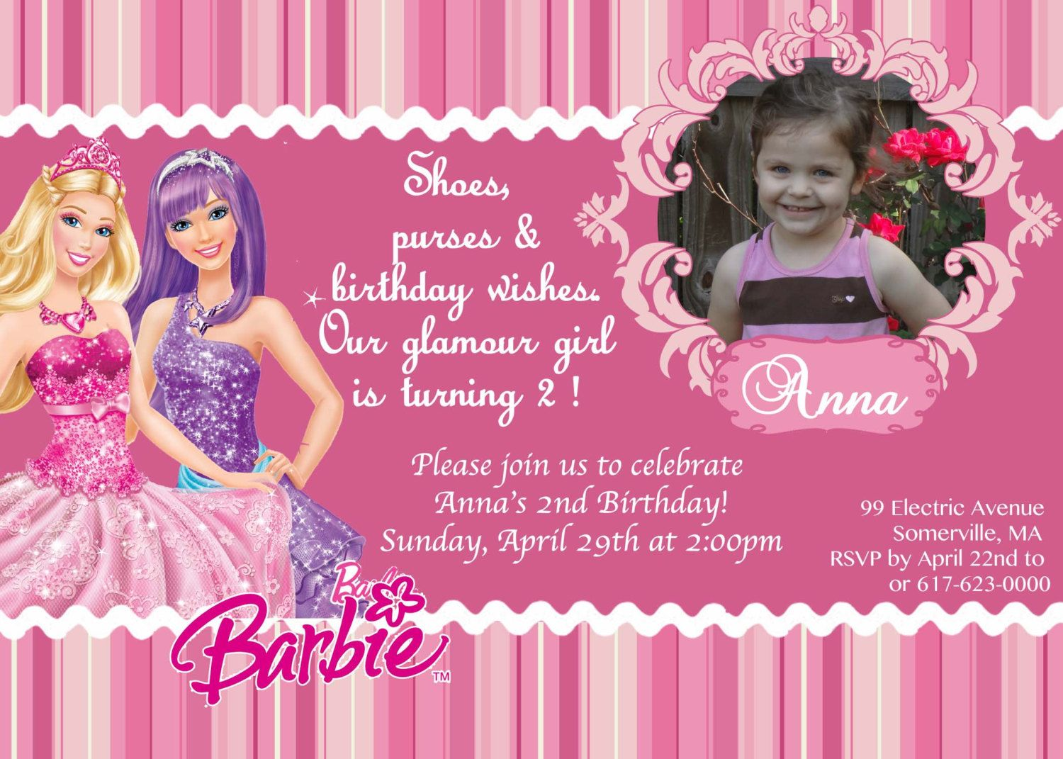 CUSTOM PHOTO Invitations Princess Pop Star Barbie Birthday ...