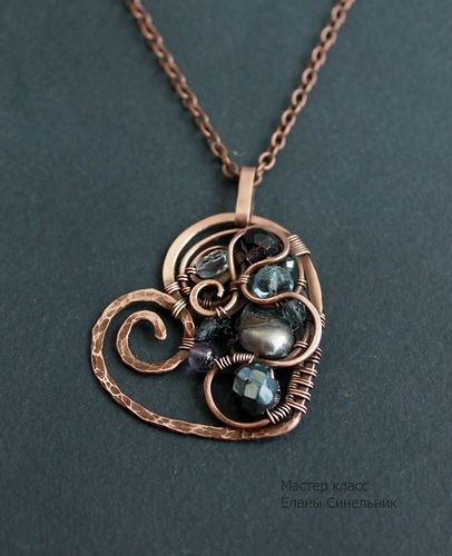 """Copper Pendant """"Heart"""" in the art wire wrap - Fair Masters - handmade, handmade.  Good tutorial  - lots of pictures"""
