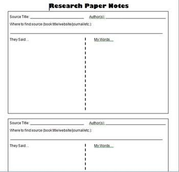 Research Paper Student Notes Template  Research Paper
