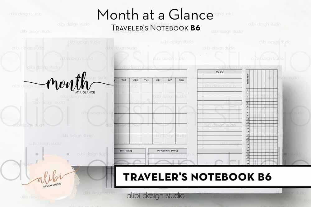 B6 Tn Monthly Planner Month At A Glance Monthly Calendar For B6