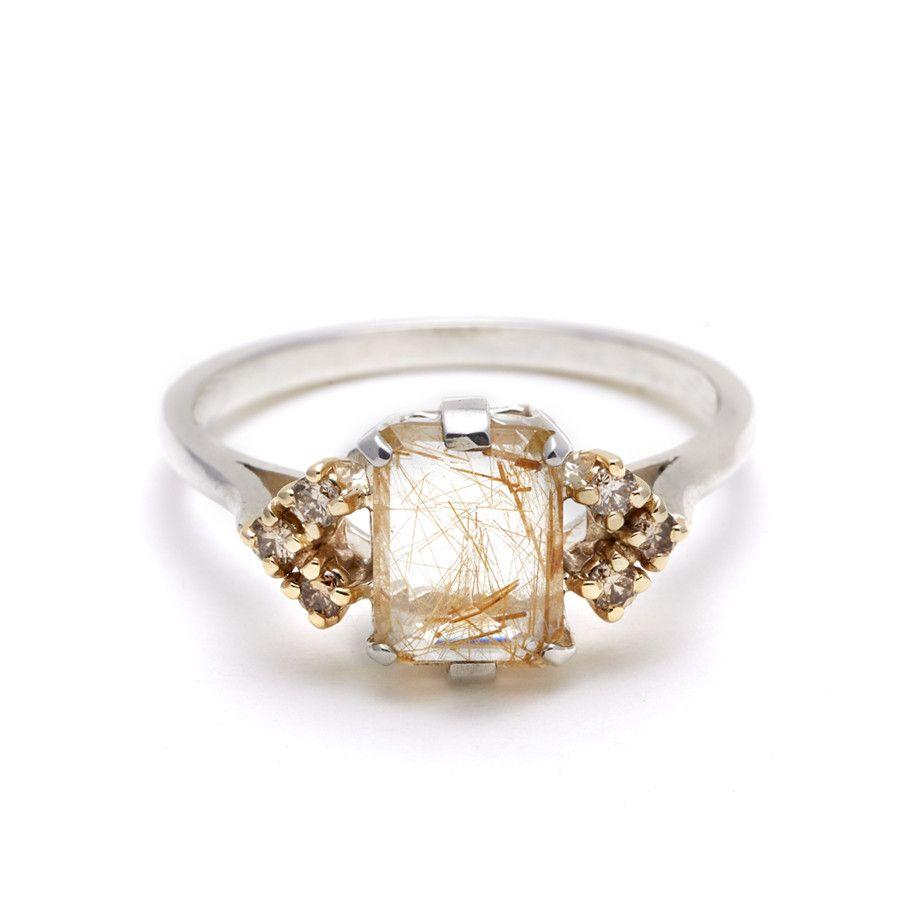 Bea Arrow Ring (11x7)  Copper Rutilated Quartz & Champagne Diamonds