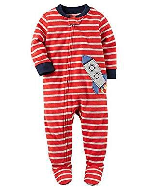 fc066f812 Carter s Boy s Red Striped Space Rocket Fleece Footed Pajama Sleeper ...
