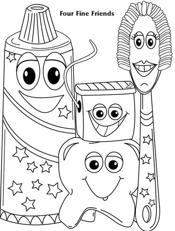 Four Fine Friends Of Dentist Coloring Pages Dental Kids Dental Health Preschool Preschool Coloring Pages