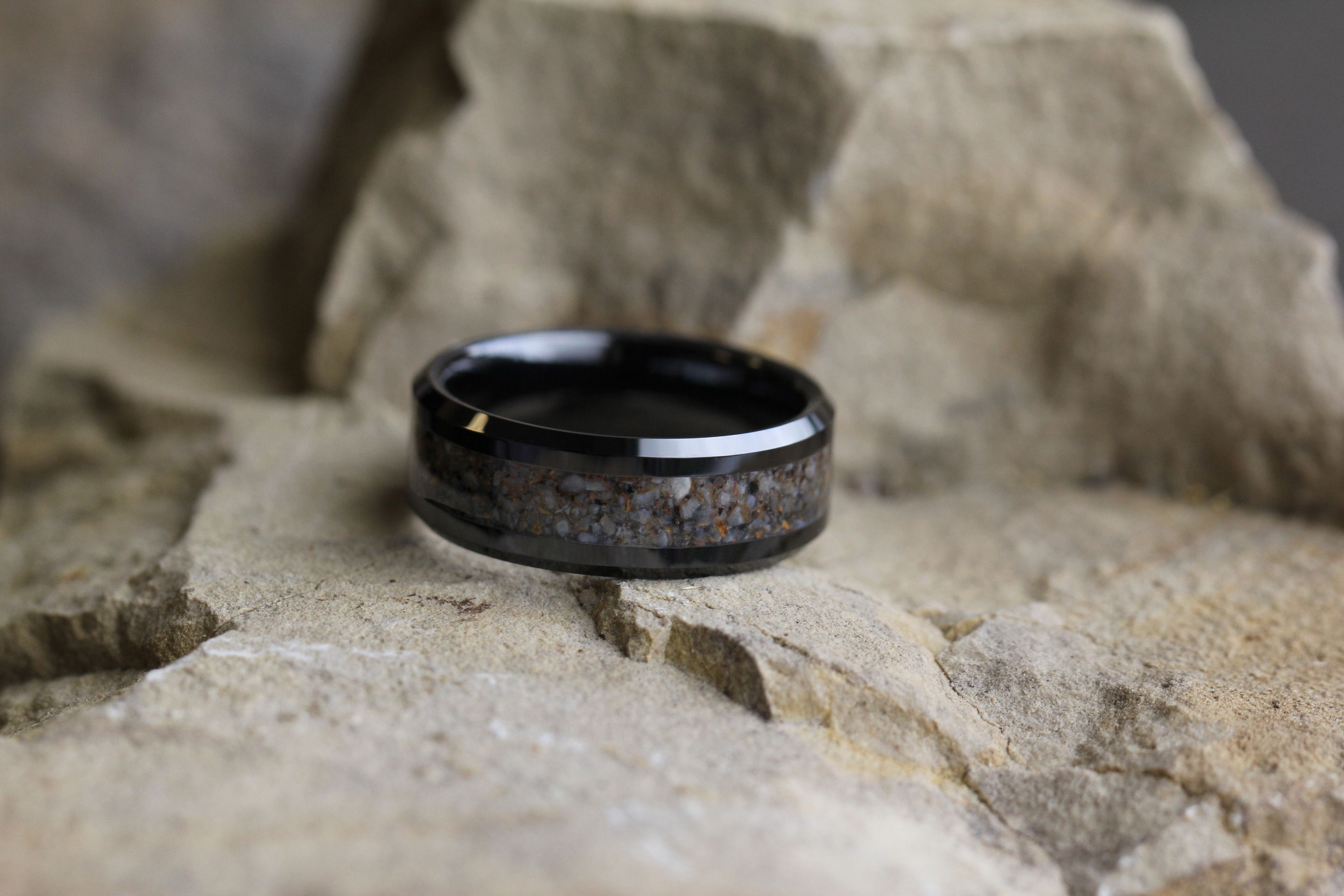 dinosaur bone with ring and rings gibeon meteorite wedding gane media inlay unique mokume band