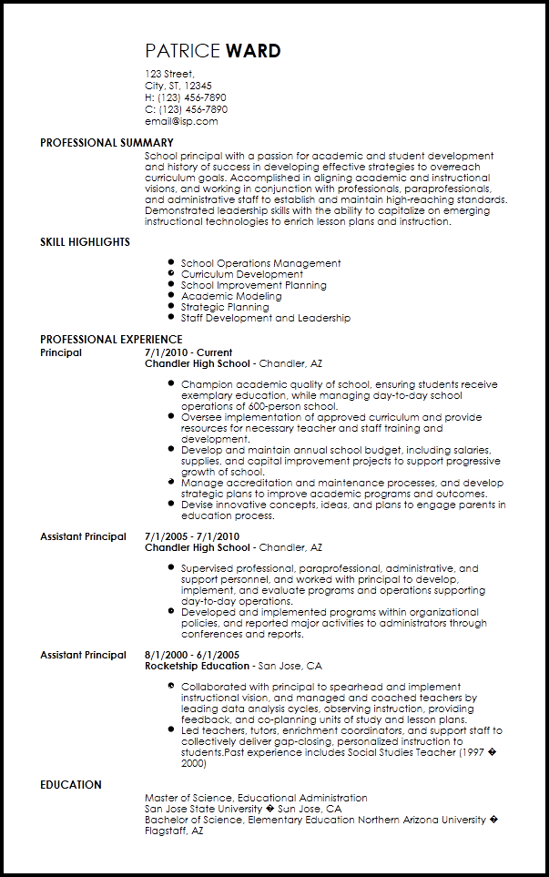 Elementary Principal Resume Elementary Principal Quotes For Students Resume Template Examples