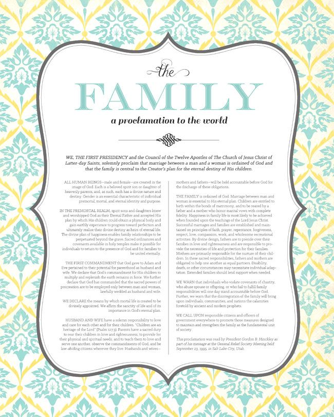 """gorgeous free LDS printable of """"The Family: A Proclamation to the World"""""""