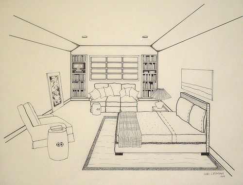 Bedroom Drawing Point Perspective Unique Picture Point