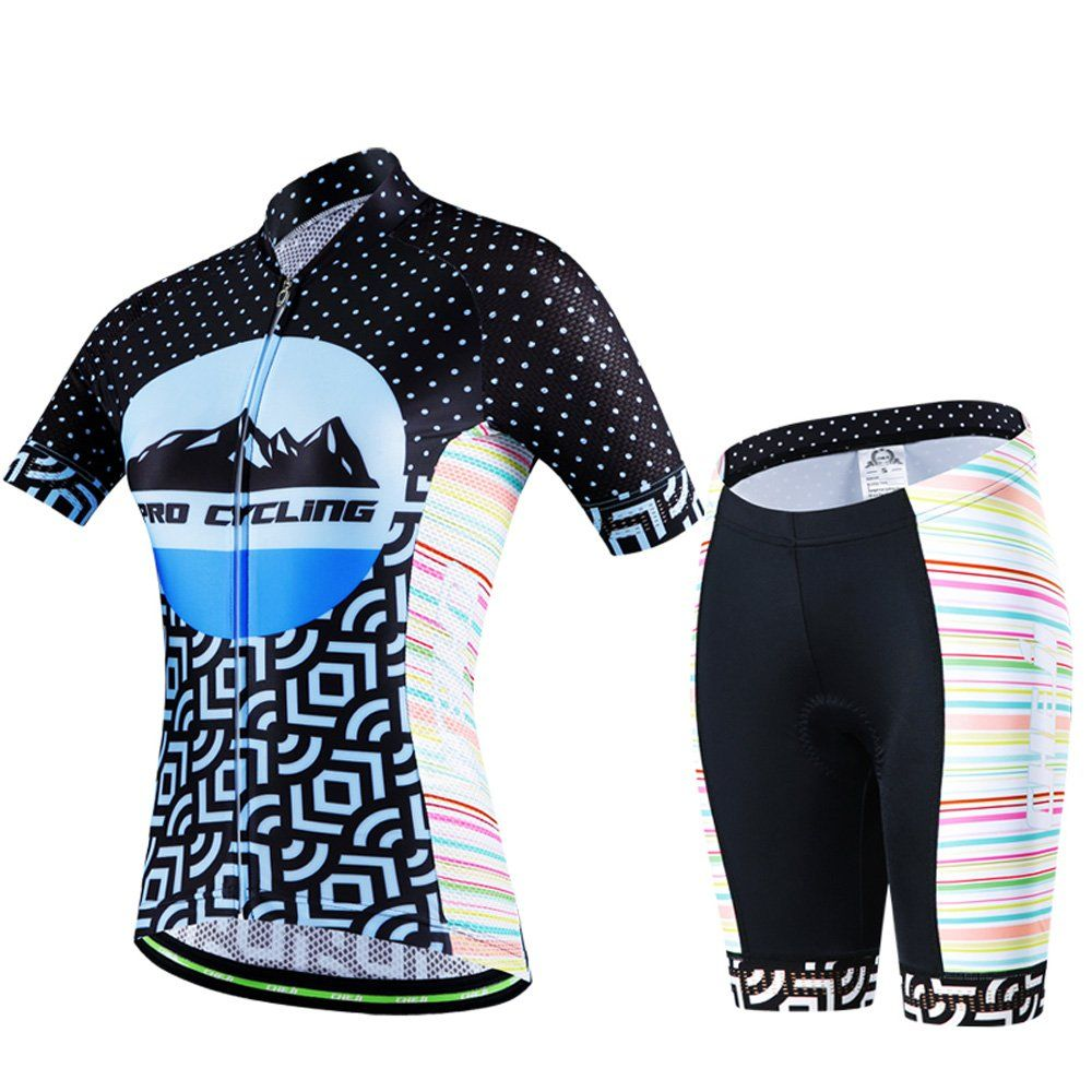 cad70a27f Women s Short Sleeve Cycling Jersey Bicycle Shirt Bike Clothing 3D Padded  Shorts Set Tight Suit (