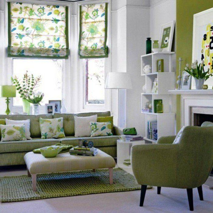 inneneinrichtung umweltstil grüne möbel teppich florale muster - Raffrollo Für Wohnzimmer