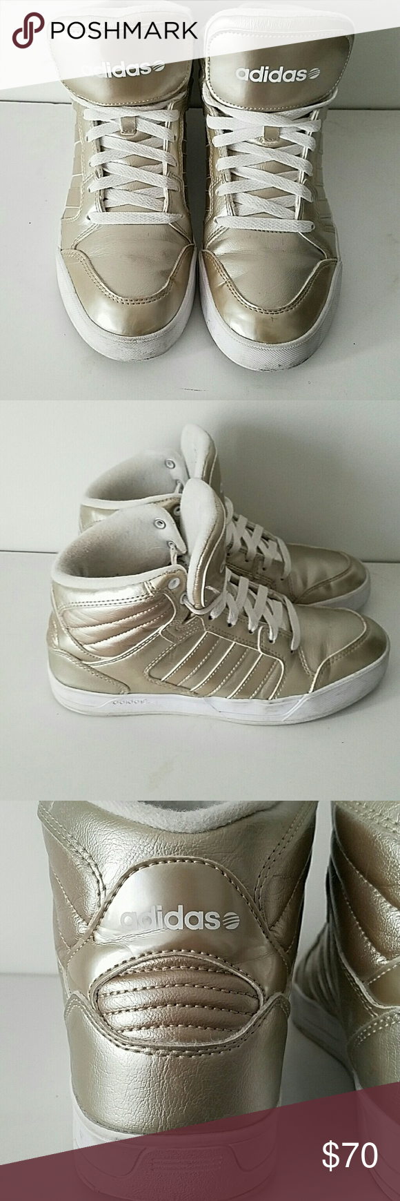 Adidas High Tops Gold Adidas High Tops.  Very good condition.  Very stylish.  Size 8. Adidas Shoes Sneakers