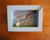 Reserved Item for Lotusgirl - DIorama frame little ceramic house - rainbow