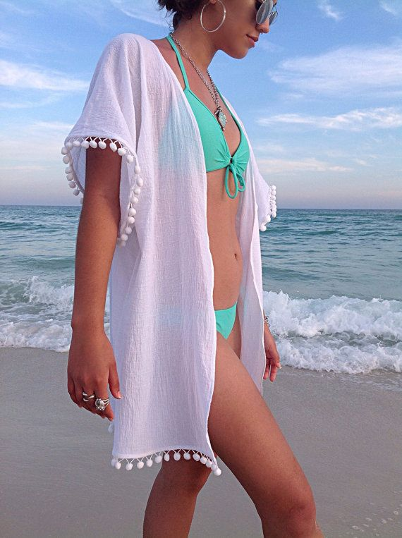 Beach cover up, coverup with Pom poms, swimsuite coverup, gauze ...
