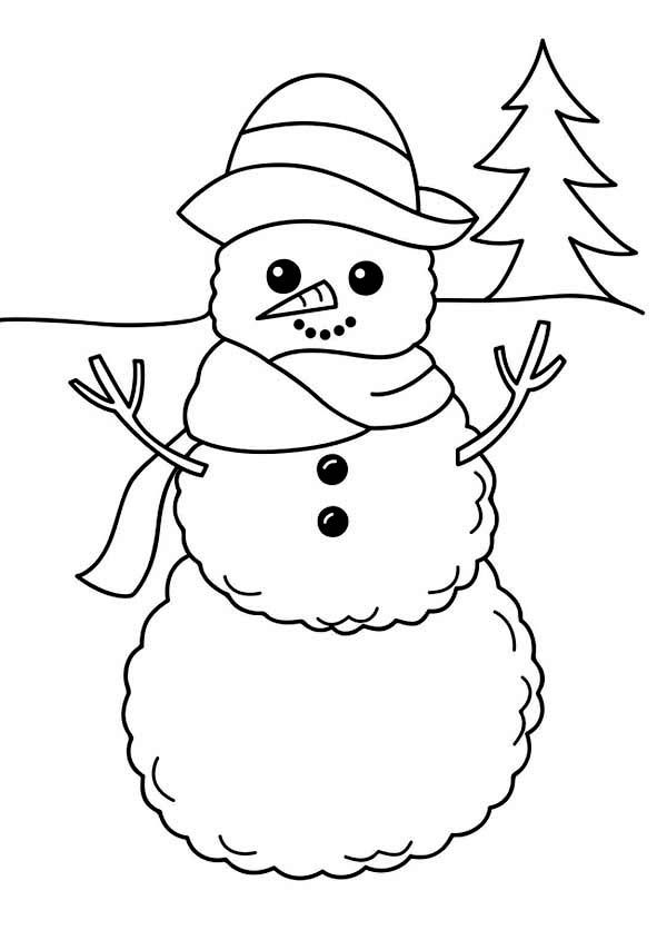 A Simple Mr Snowman Figure On Winter Season Coloring Page Netart