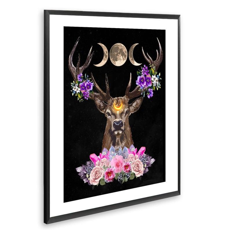 Deer Head, Wall Art, Wicca, Printable Wall Art, Pagan Art, Scandinavian Folk Art, Wiccan Decor, Wicca Altar, Witch Altar, Moon Goddess, Art