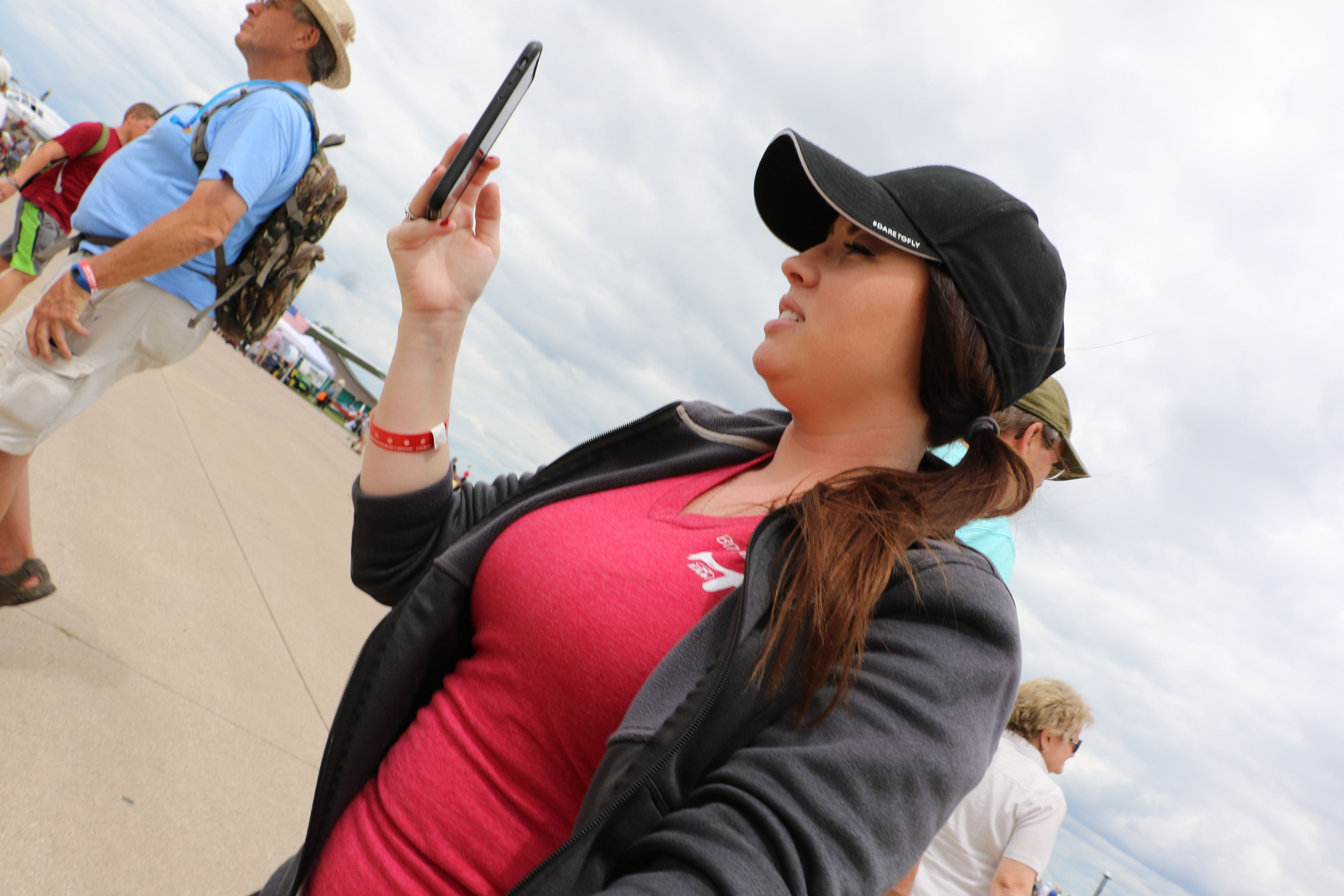 Heather Marie covering social media at osh18 airshow360