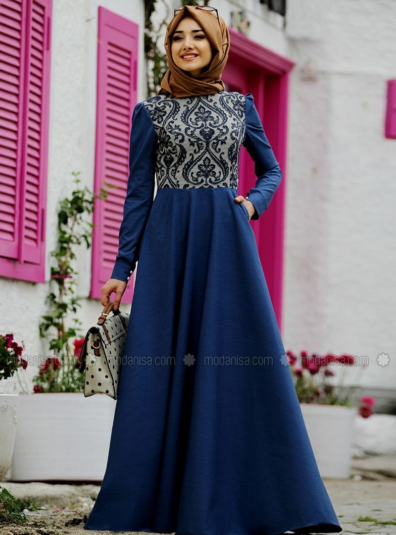 8836ee88388ae Nehir Elbise - Lacivert - Gamze Polat | elbise | Kot elbiseler ...