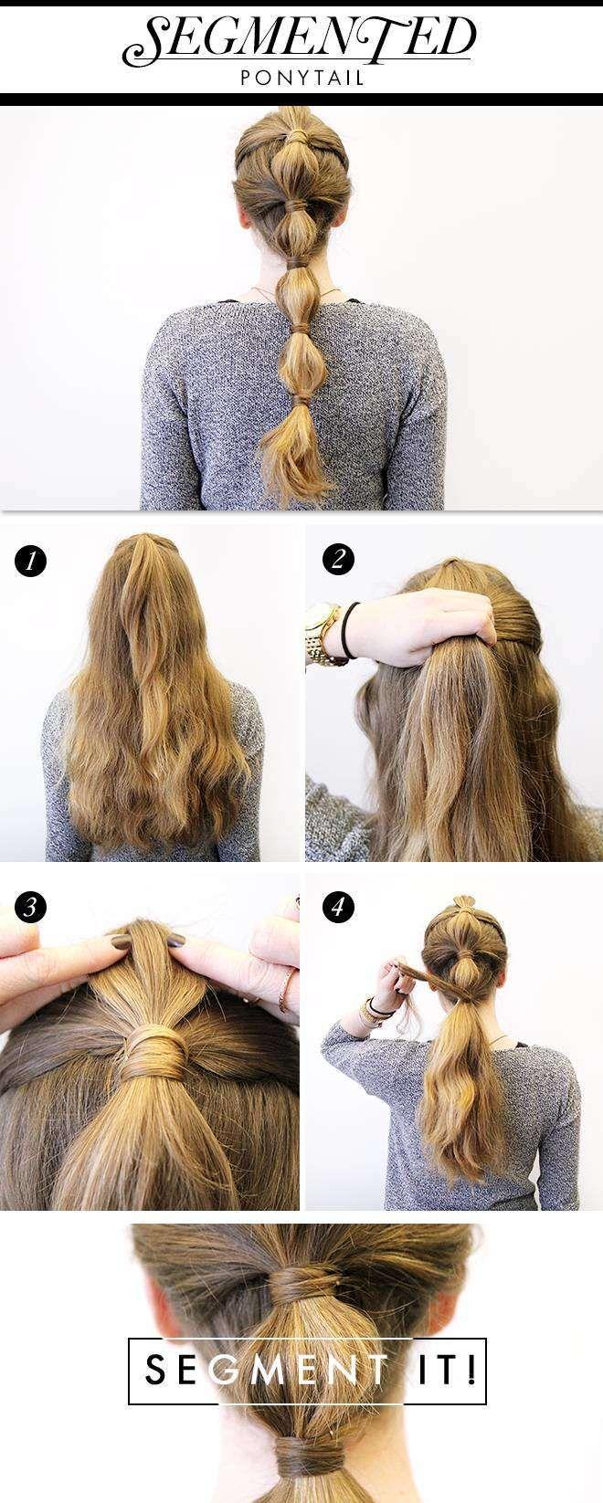 Segmented bubble ponytail Ponytail hairstyles tutorial