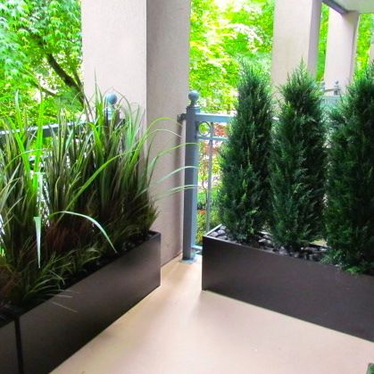Condo balcony privacy screen exterior spaces pinterest for Privacy planters for decks