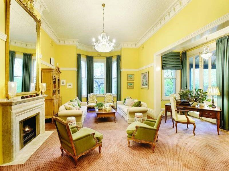 Living Room Victorian With Yellow Walls Decorating Ideas