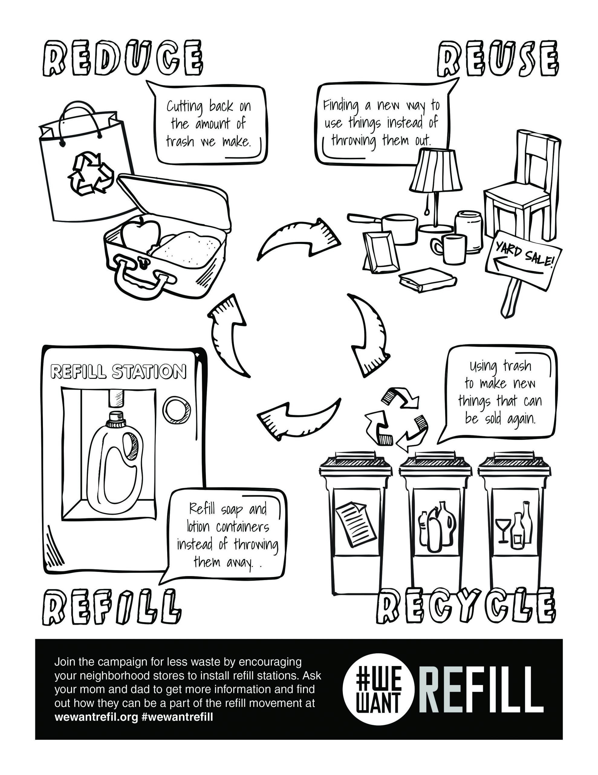 Reduce Reuse Recycle Worksheet Free Downloadable Coloring