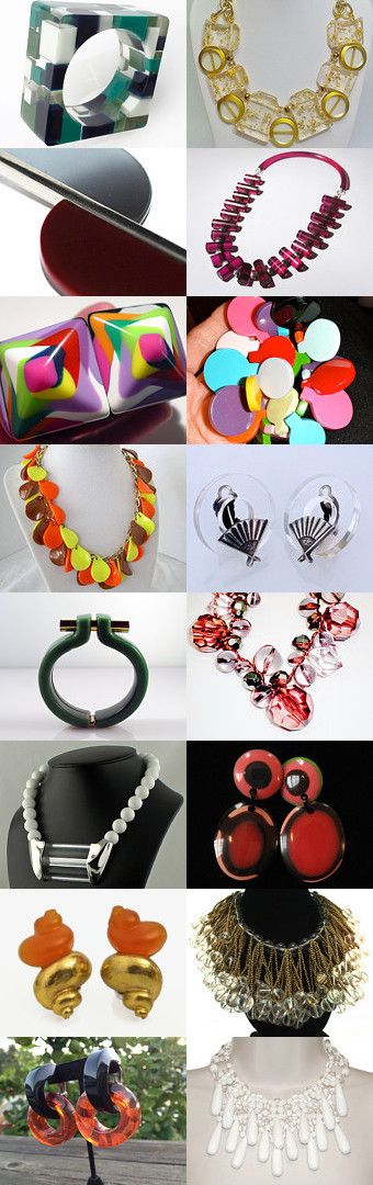 Couture Lucite Jewelry #1. Big, bold, fabulous! Curator: Julie Proctor from https://www.etsy.com/shop/RhinestoneByrd