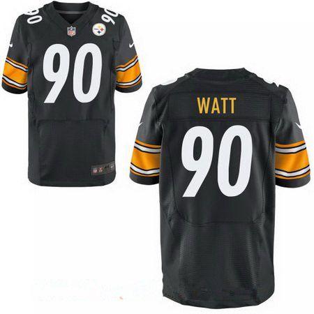 eedc39e8aeb Men's 2017 NFL Draft Pittsburgh Steelers #90 T. J. Watt Black Team Color Stitched  NFL Nike Elite Jersey