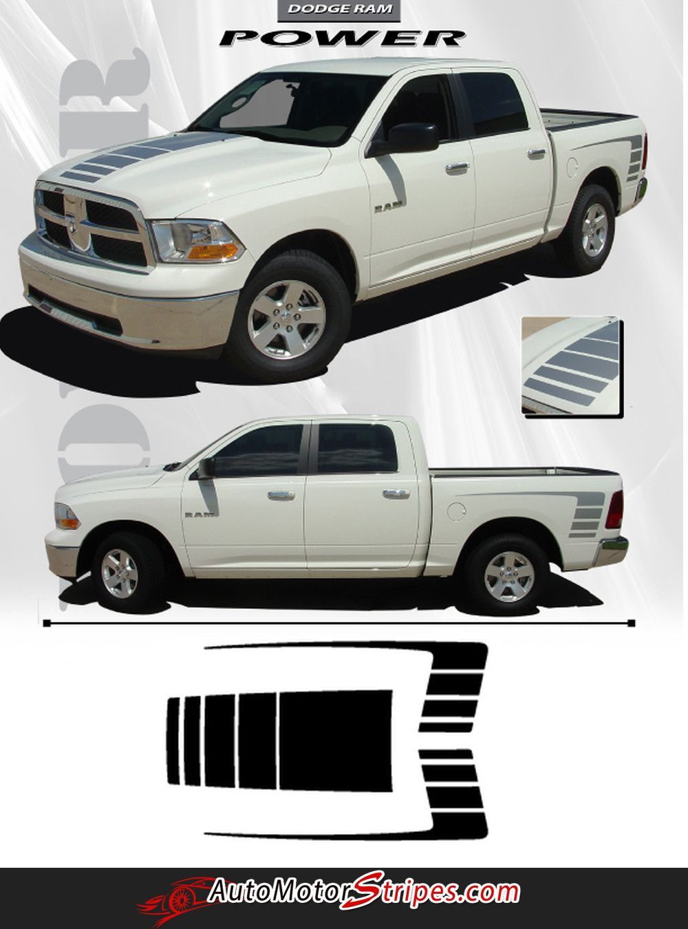Vehicle specific style dodge ram truck power hood strobes and rear bed vinyl graphic stripe decals year fitment 2009 2010 2011 2012 2013 2014 2015 2016