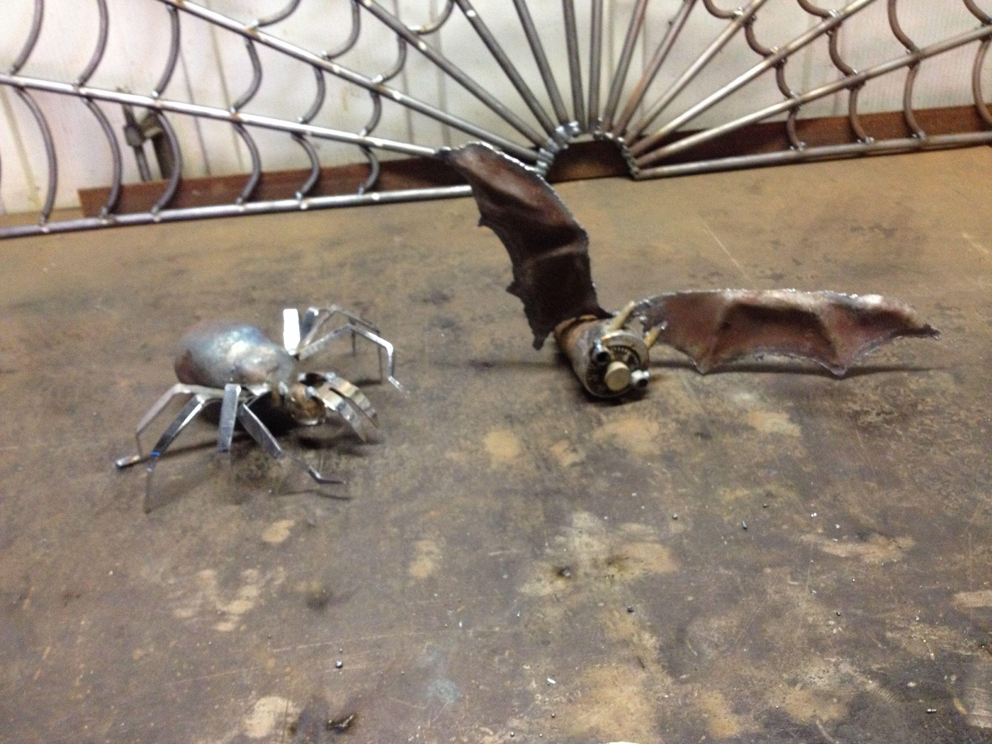 Tweezer legged spider and master lock bat by crestcreatures