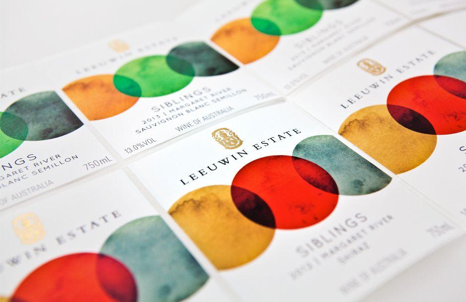Labels for Leeuwin Estate's Siblings range of wines by Fusebox Design.
