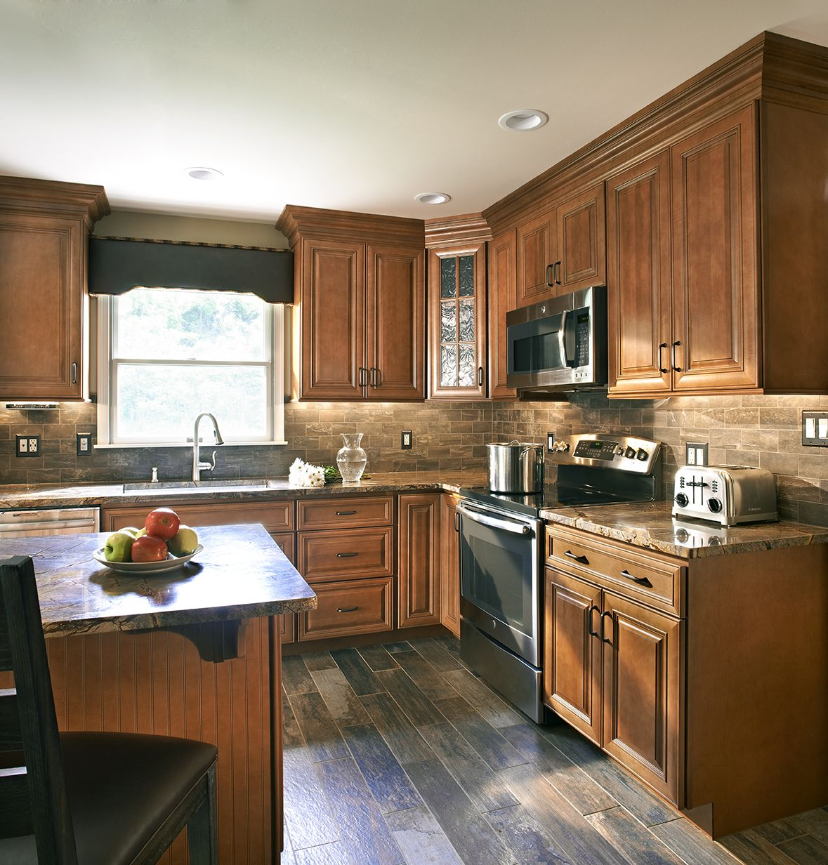 WOLF Classic Cabinets in Hudson Heritage Brown with ...