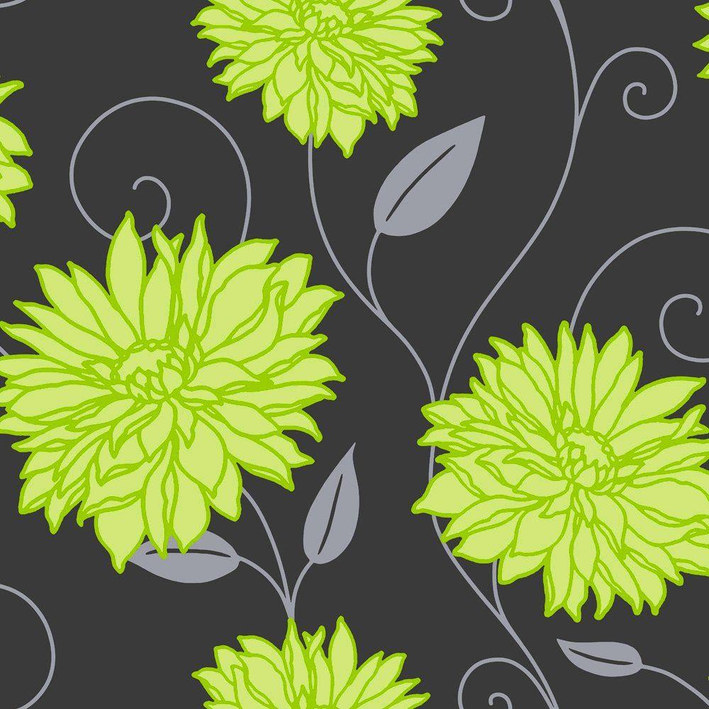 Crown Starflower Wallpaper Apple Green / Black / Silver Part 50