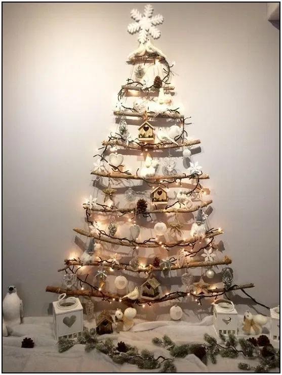167 Christmas Decor Diy Ideas To Get Crafting For The Holidays Right Now 32 Hom Wall Christmas Tree Diy Christmas Decorations Easy Alternative Christmas Tree