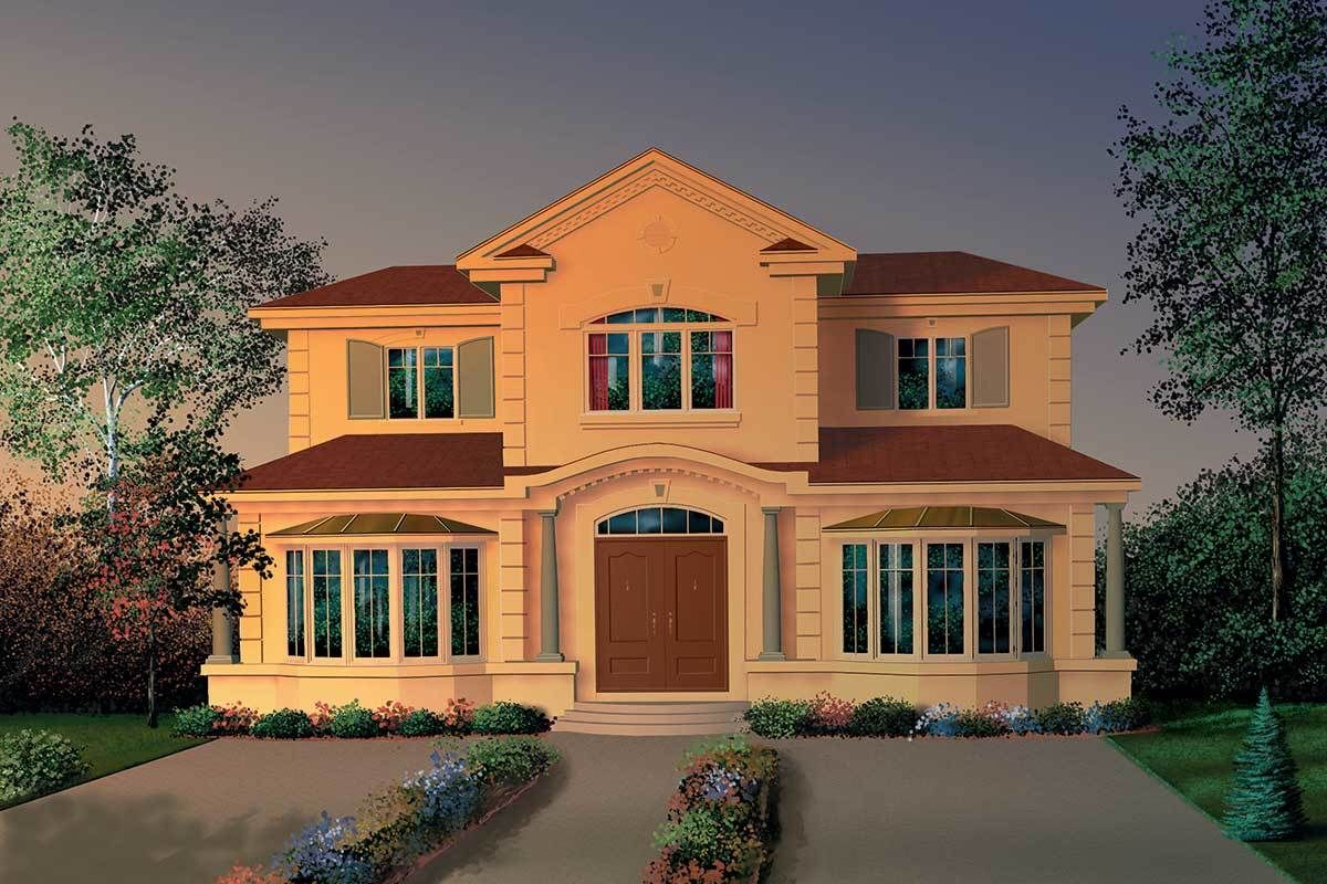 Plan 21509dr Elegant Living With Two Kitchens Mediterranean Style House Plans Spanish Style Homes Mediterranean Style Homes