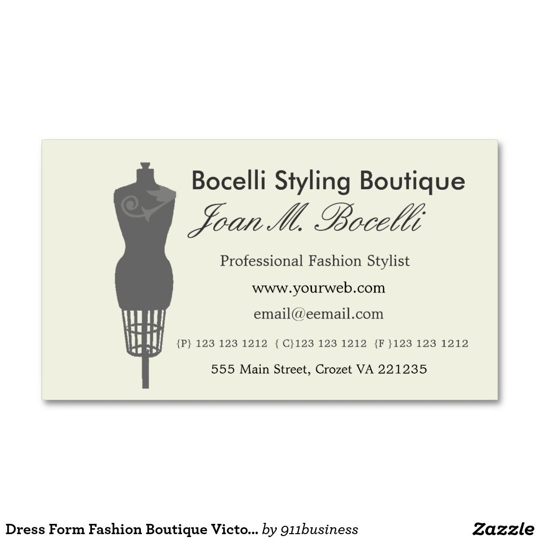 Dress Form Fashion Vintage Victorian Mannequin Appointment Card Zazzle Com Retail Business Ideas Business Card Design Fashion Boutique
