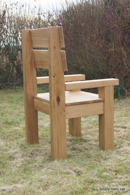 Handmade Rustic Oak Garden Carver Armchairs | Handmade Garden Furniture