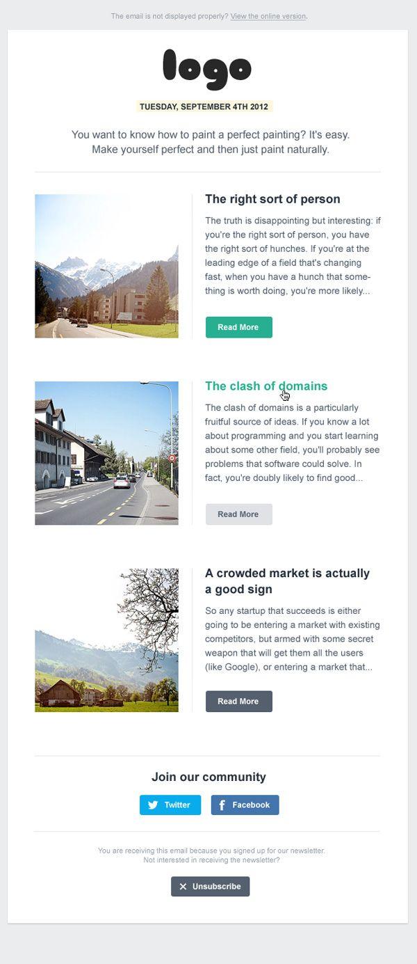 Newsletter Design Template in HTML on Behance | Newsletter ...