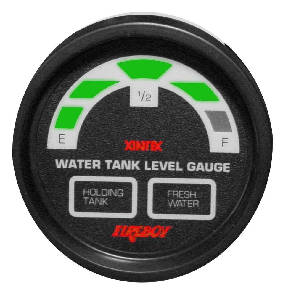 """Xintex Water-Holding Tank Display Round 2"""" Gauge f-1 Fresh Water & 1 Holding Tank"""