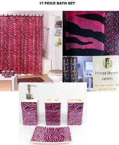 17 Piece Bath Accessory Set Pink Zebra Shower Curtain With