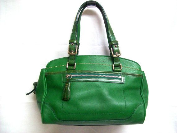 c389fd4e21 RESERVED Vintage COACH Glove Green Leather Hampton Carry All Top ...