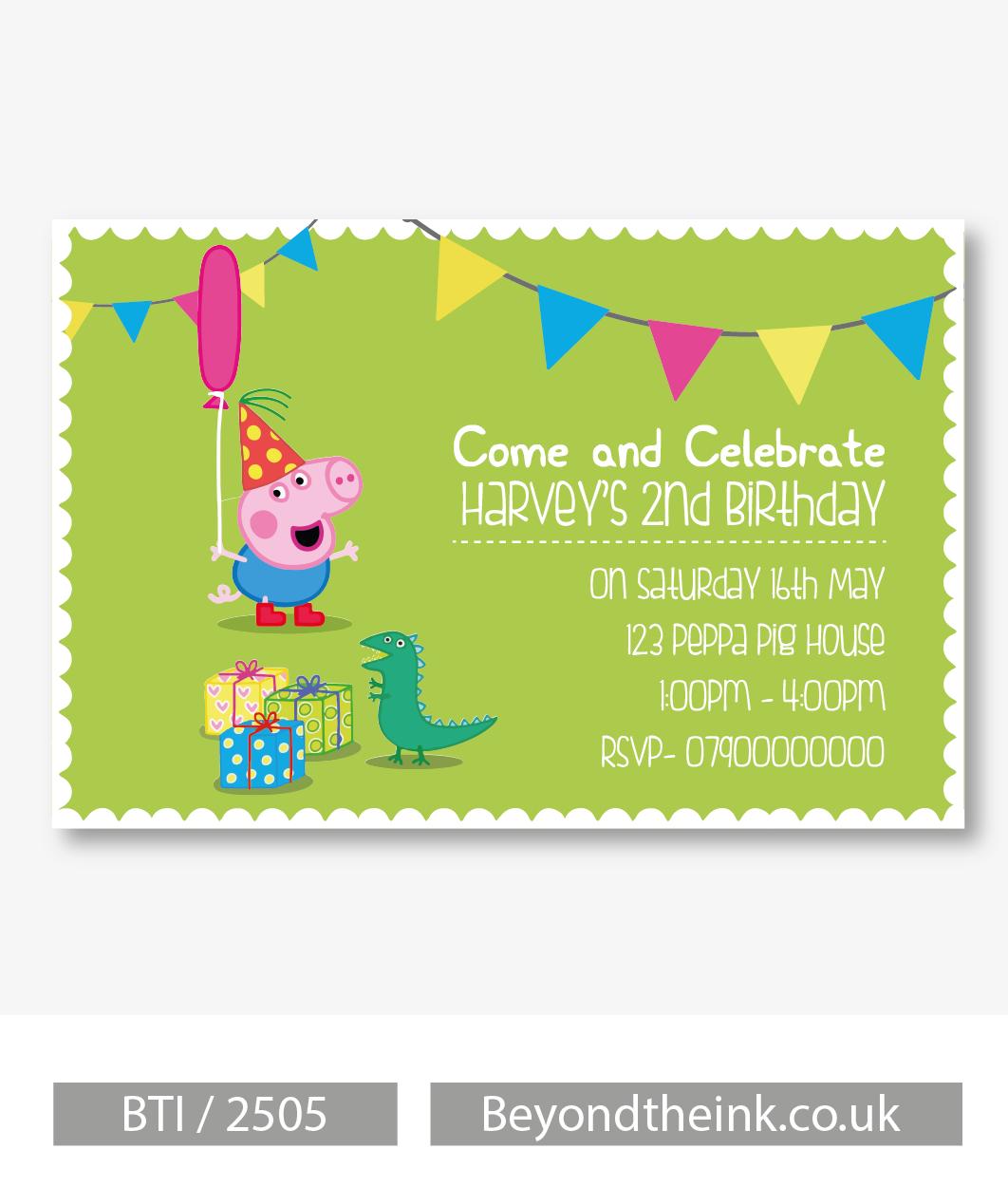 Personalised peppa pig george pig dinosaur invitations printed personalised peppa pig george pig dinosaur invitations printed on professional 300 gsm smooth card stopboris Images