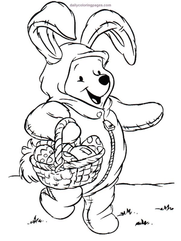 Pooh As Easter Bunny Easter Coloring Book Disney Coloring Pages Easter Egg Coloring Pages