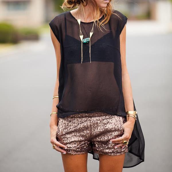 Shimmer (sequins) with sheer. Spring summer trends 2014.