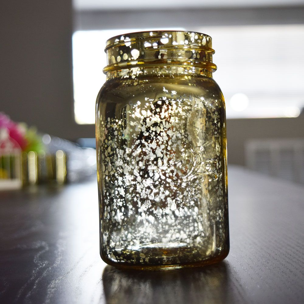 Fantado Regular Mouth Gold Mercury Glass Mason Jar 16oz 1 Pint